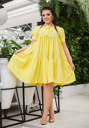 """Женское летнее платье в больших размерах 0577 """"Софт Воланы Бант"""""""