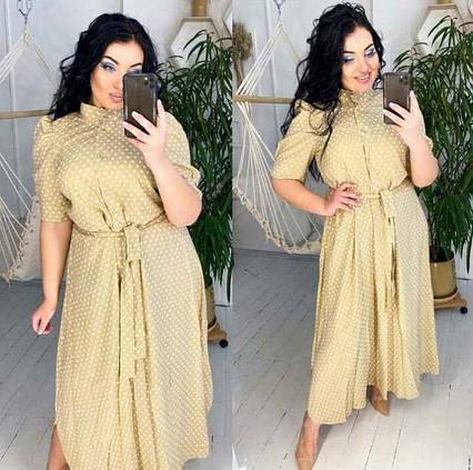 """Женское летнее платье в больших размерах 0566 """"Штапель Горошек Макси"""""""