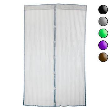 Штора на магнітах - сітка від мух на двері 120х208 см Сіра однотонна, москітна двері (сітка на двері) (ST)