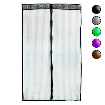 Москітна сітка на магнітах 120х208 см Чорна однотонна, антимоскітна сітка на двері (маскітна сітка) (ST)