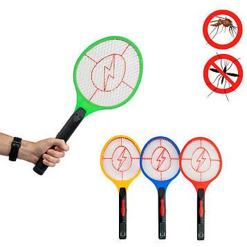 Электромухобойка - ракетка для мух і комарів, Зелена з червоною блискавкою 51х21 см (електромухобійка) (ST)
