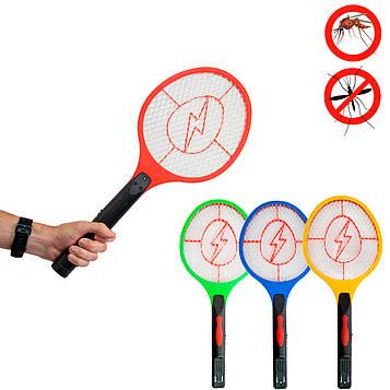 Мухобійка електрична на акумуляторі - Червоний обідок і блискавка 51х21см, мухобійка ракетка від комарів (ST)