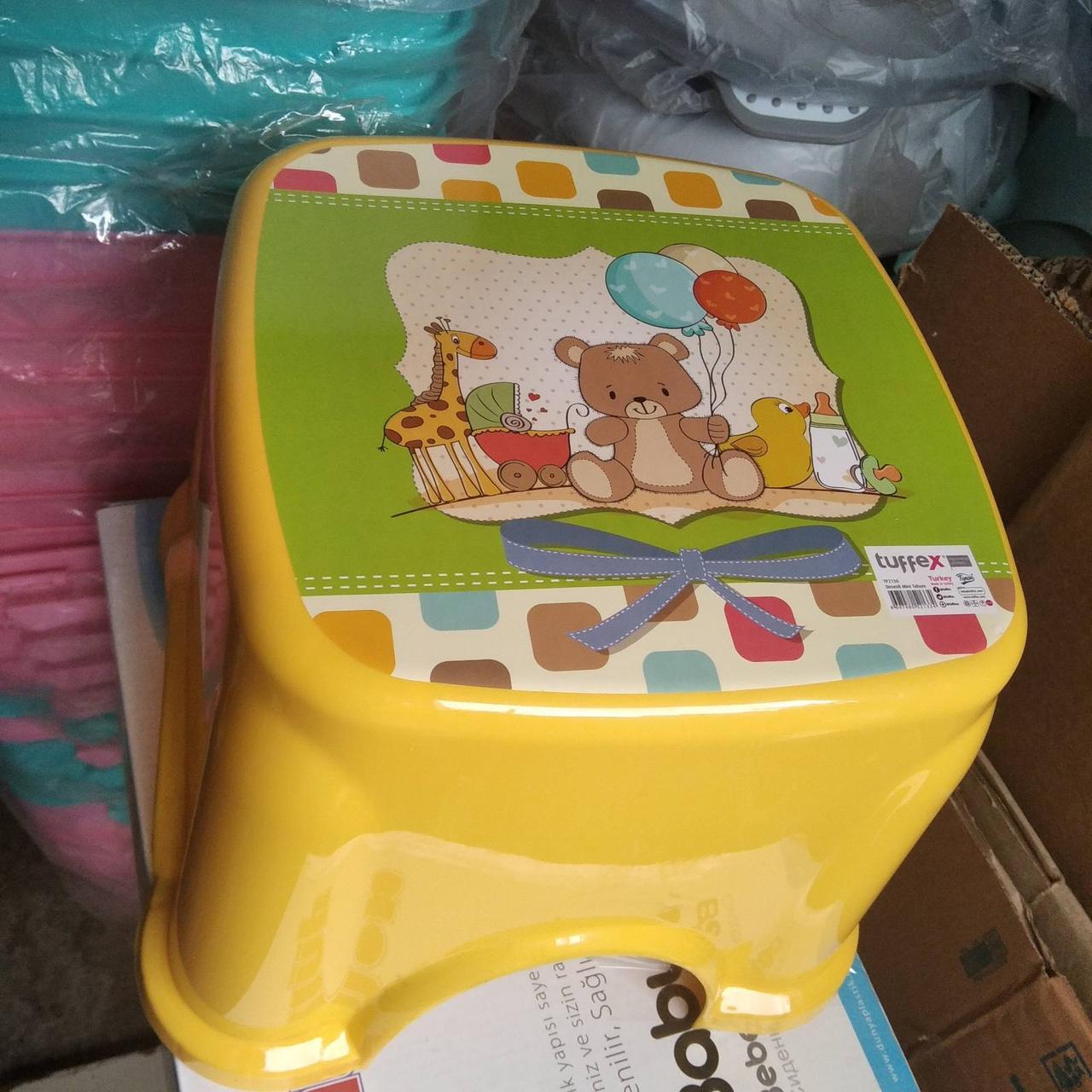 Табурет дитячий стілець-підставка стільчик ТР 2130 Туреччина жовтий ведмедик