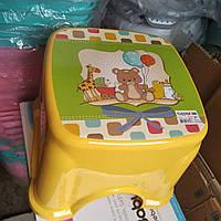 Табурет дитячий стілець-підставка стільчик ТР 2130 Туреччина жовтий ведмедик, фото 1