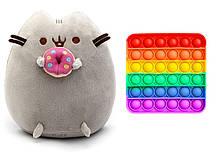 Набір м'яка іграшка кіт з пончиком Пушини кет 18 х 12 см Сірий і Іграшка антистрес Pop It (n-1233)