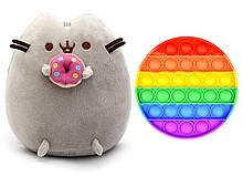 Набір м'яка іграшка кіт з пончиком Пушини кет Сірий і Іграшка антистрес Pop It коло (n-1234)
