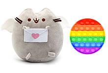 Набір м'яка іграшка кіт з листом Пушини кет Сірий і Іграшка антистрес Pop It коло (n-1236)