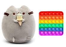 Набір м'яка іграшка кіт з морозивом Пушини кет 18 х 12 см Сірий і Іграшка антистрес Pop It (n-1237)