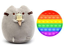 Набір м'яка іграшка кіт з морозивом Пушини кет Сірий і Іграшка антистрес Pop It коло (n-1238)