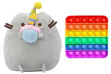 М'яка іграшка кіт з кексом 18 х 15 см Пушини кет Сірий і іграшка антистрес Pop It квадрат (n-1241)