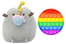 М'яка іграшка кіт з кексом 18 х 15 см Пушини кет Сірий і іграшка антистрес Pop It коло (n-1242)