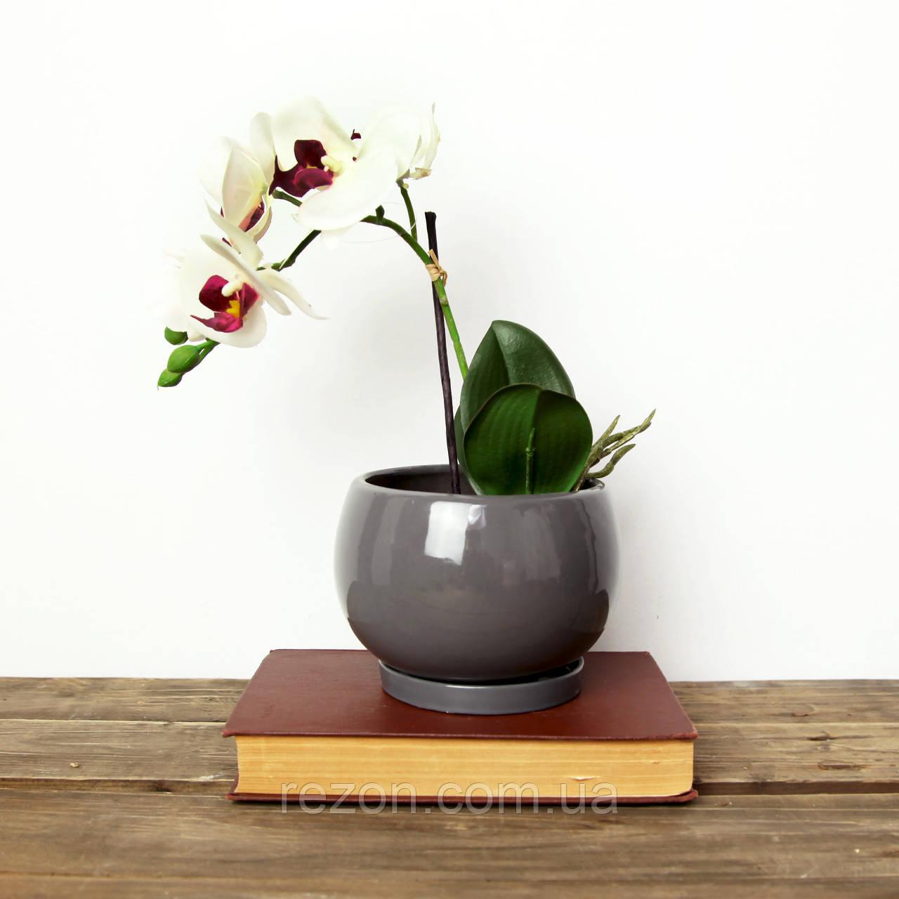 """Вазон для квітів керамічний """"Куля"""" 1л Rezon Сірий P010"""