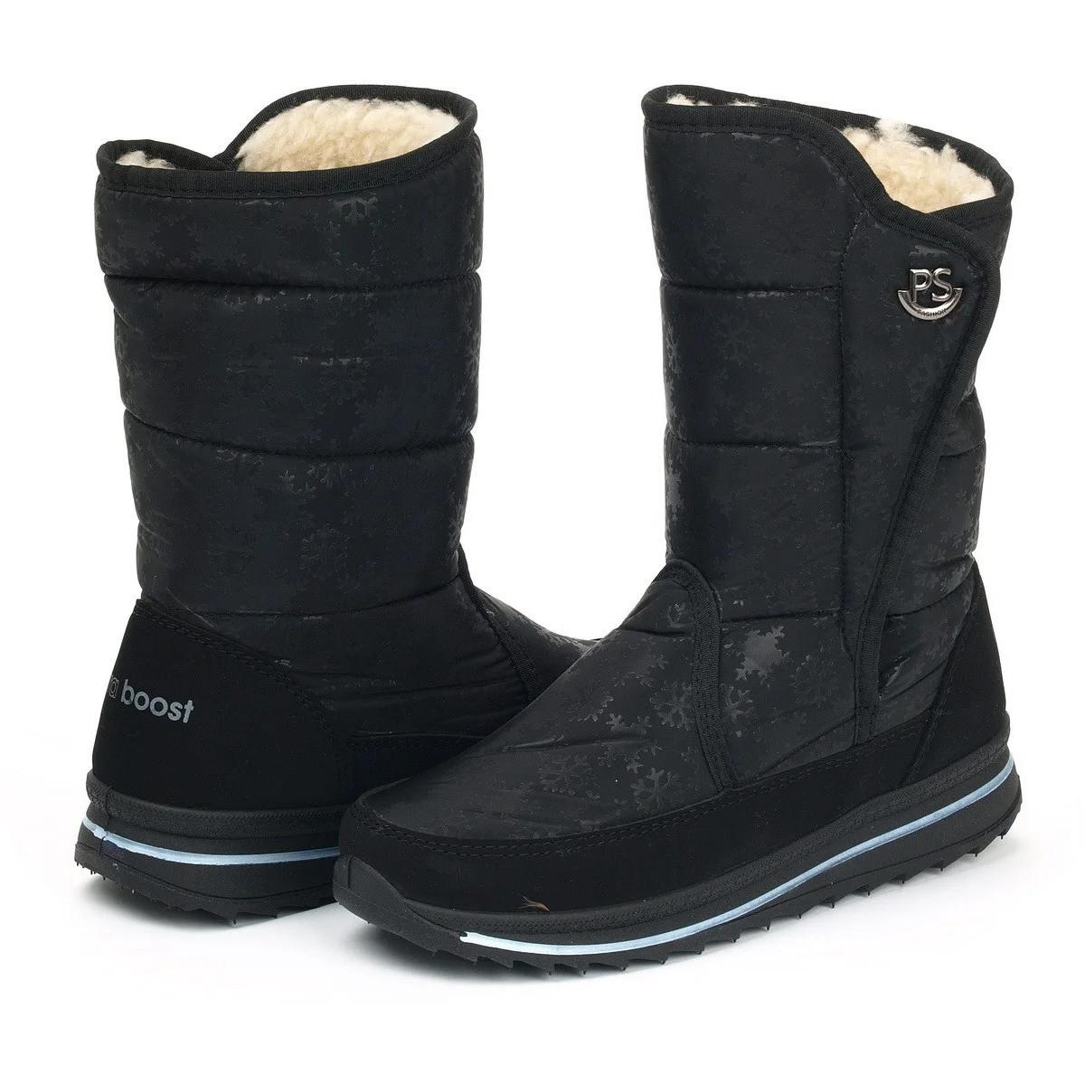 Жіночі зимові чоботи дутики на липучку (Пр-3104ч)