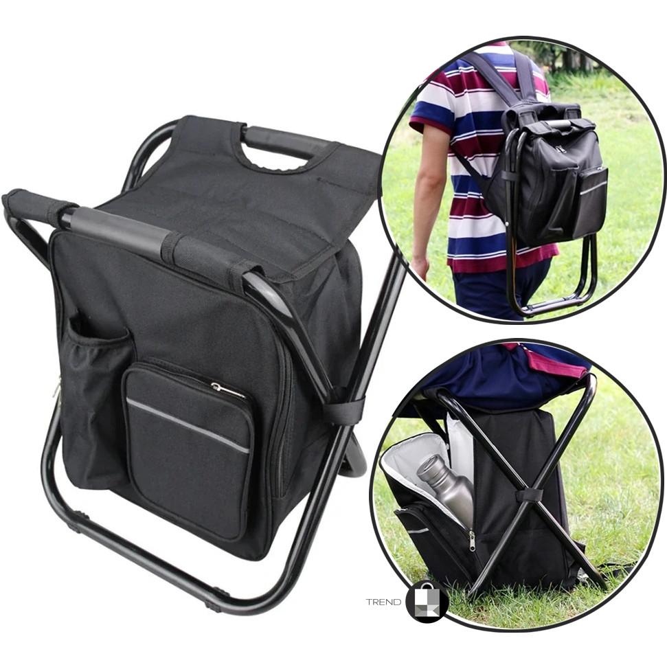 2 в 1   Раскладной стул-рюкзак с термосумкой для рыбалки, пикника, кемпинга или пляжа
