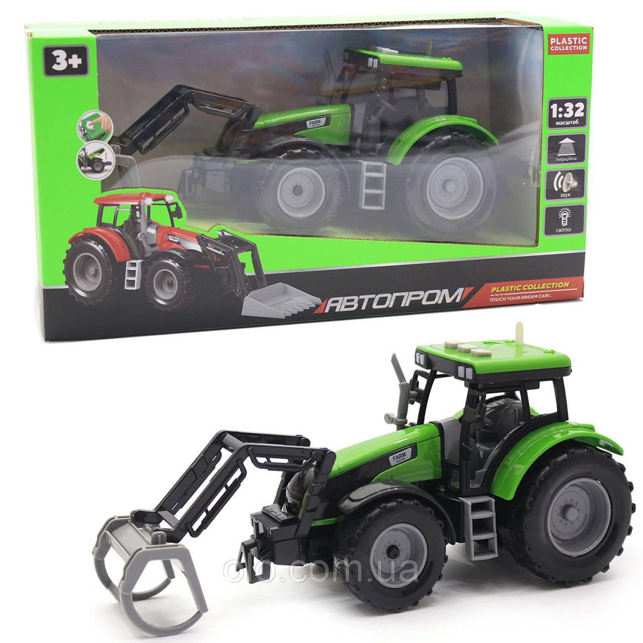 Машинка іграшкова Автопром «Трактор» Зелений-4, 20 см (7924AB)