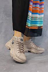 Женские кроссовки кожаные весна/осень бежевые Blondi K 600 кожаная подкладка