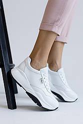 Женские кроссовки кожаные весна/осень белые Yuves 3131