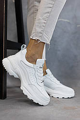 Женские кроссовки кожаные весна/осень белые Emirro 262