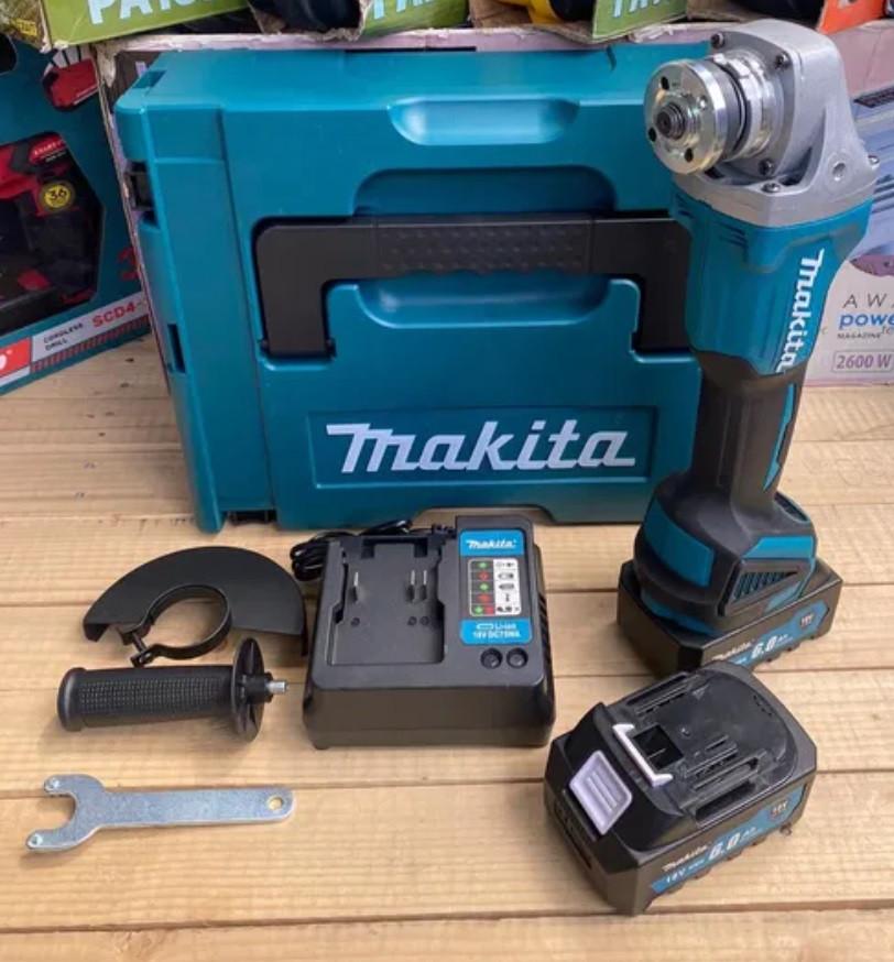 Акумуляторна безщіткова (brushless) болгарка Makita DGA540 💿 125мм⚡2 акб(18V, 6A)🦸КЕЙС(3000 - 8500 об)