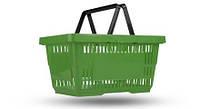 Корзина пластиковая покупательская 22 л., корзинка для покупок зелёного цвета