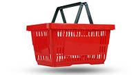 Корзина пластиковая покупательская 22 л., корзинка для покупок красного цвета