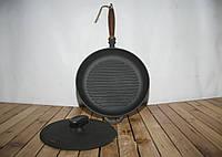 Сковорода гриль чугунная  с крышкой прессом d 260мм, фото 1