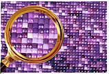 Алмазна вишивка, мозаїка Diy Дерево на лавандовом поле 30х45см повна зашивання, Квадратні стрази. Набір, фото 3