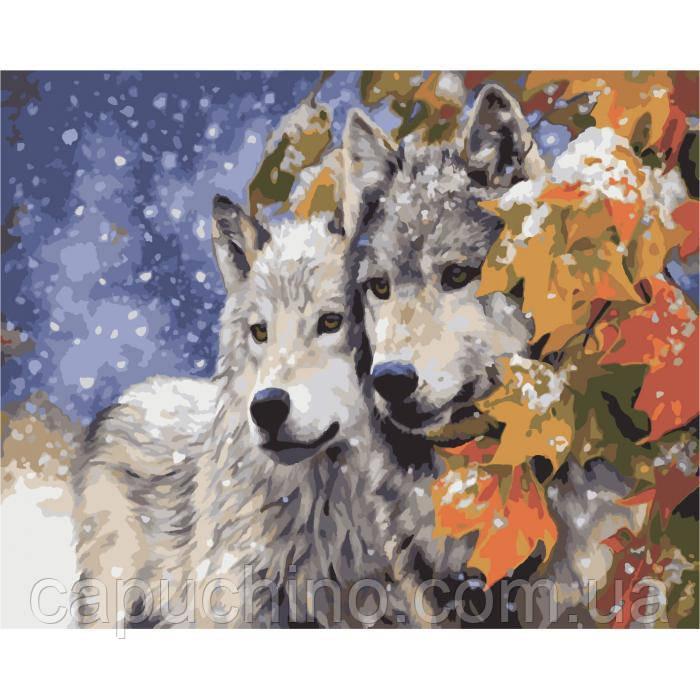 Картина по номерам рисование Идейка Пара волков 40х50см КНО2434 набор для росписи, краски, кисти, холст