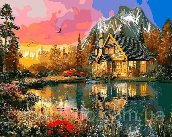 Картина малювання за номерами Mariposa Горная хижина 40х50см Q2200 набір для розпису, фарби, пензлі, полотно