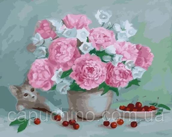 Картина за номерами малювання Brushme Цветывишни і кошеня GX23647 40х50см набір для розпису по цифрам у