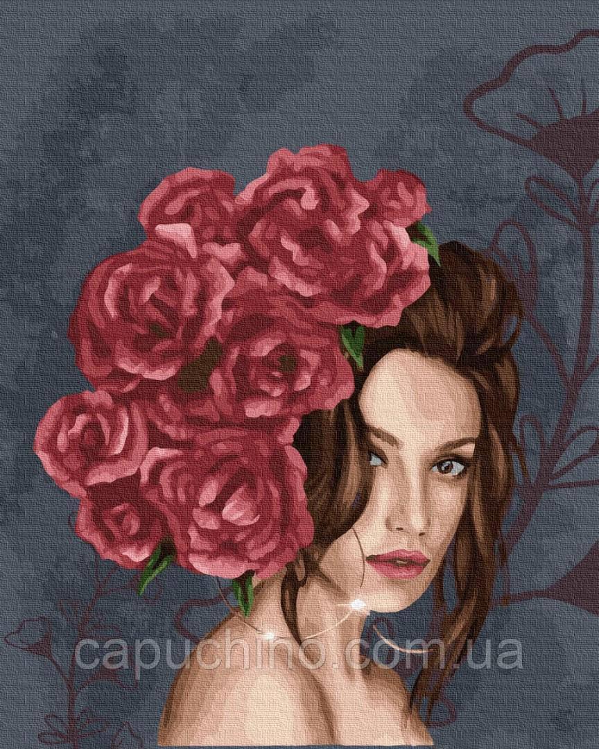 Картина по номерам рисование Леди в розах GX37456 40х50см набор для росписи по цифрам без коробки