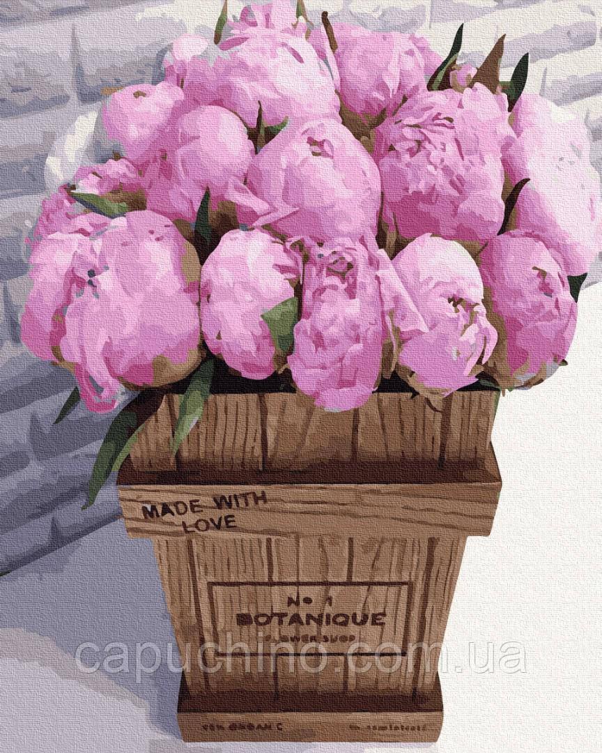 Картина за номерами малювання Букет рожевих півоній GX36092 40х50см набір для розпису по цифрам без коробки