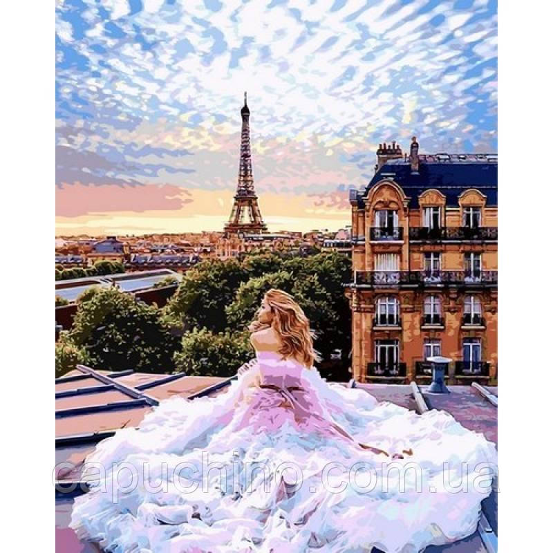 Картина за номерами малювання Babylon NB1013 Ранок у Парижі. Віра 40х50см набір для розпису по цифрам у коробці