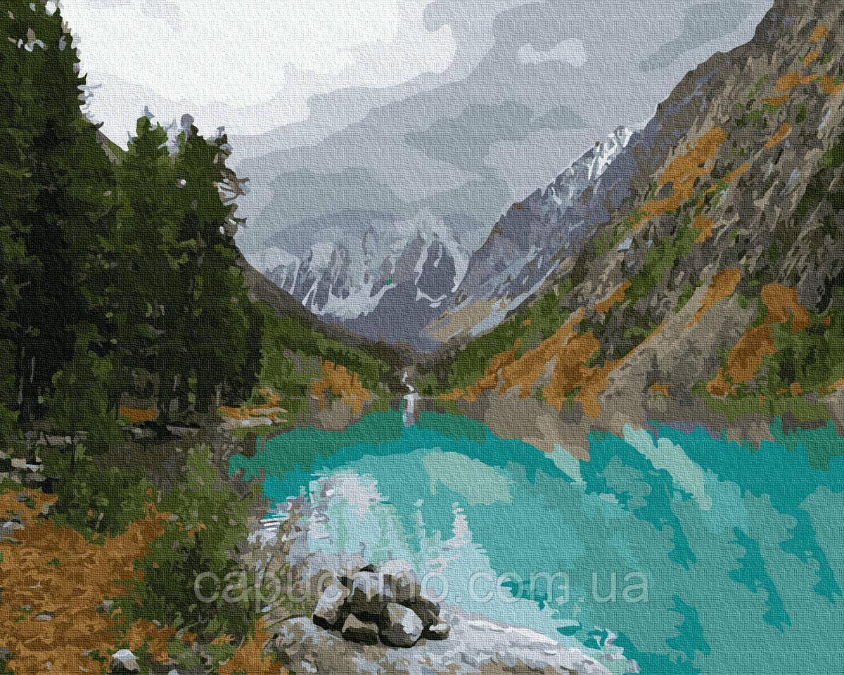 Картина за номерами малювання Вид на гірське озеро GX35791 40х50см набір для розпису по цифрам без коробки