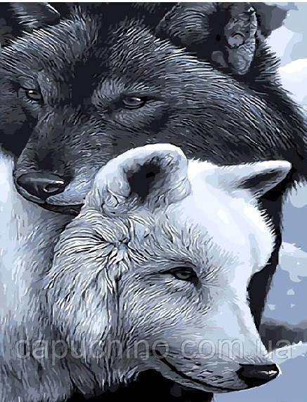 Картина по номерам рисование Волки добра и тьмы GX9633 40х50см набор для росписи по цифрам без коробки