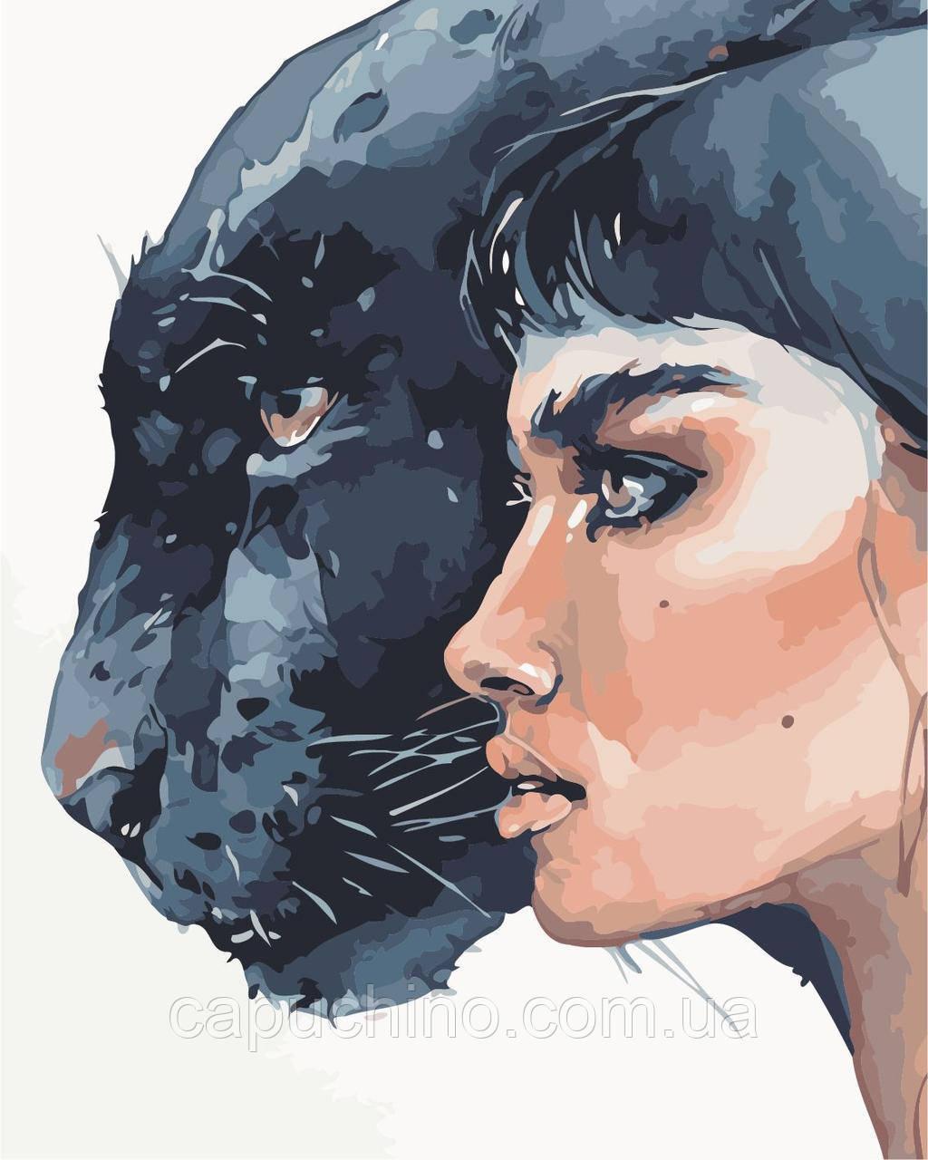 Картина по номерам Дівчина та пантера, 40x50 см., Art Story