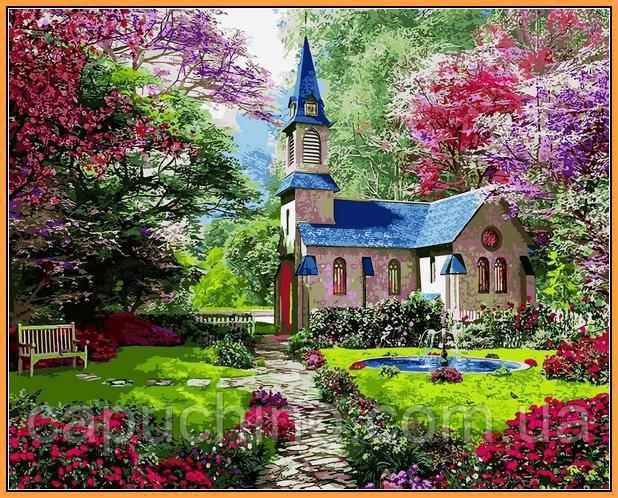 Картина по номерам рисование Babylon NB1153 Замок в цветущем саду 40х50см набор для росписи по цифрам в
