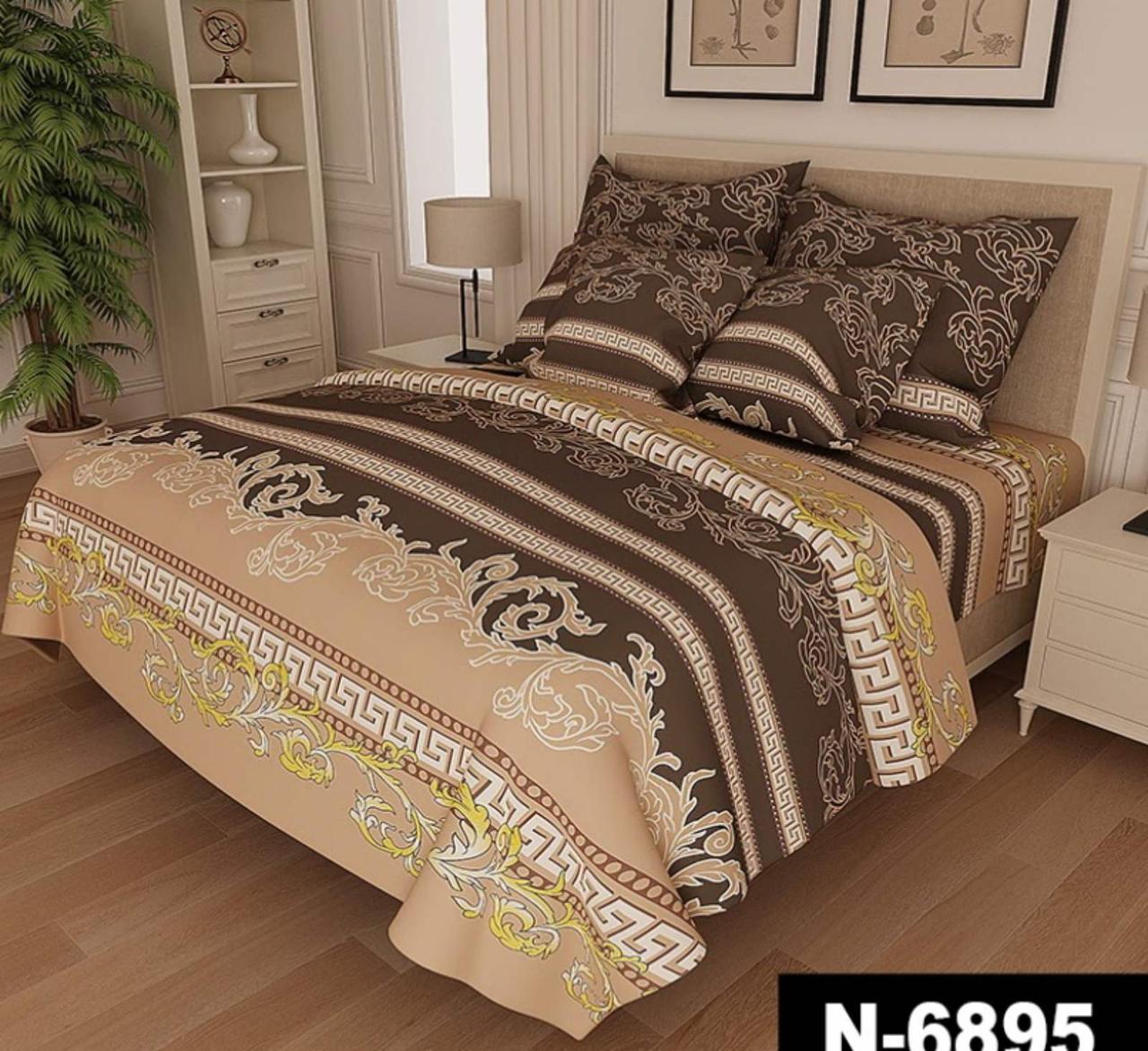 Комплект постельного белья Версаче Бязь  GOLD 100% хлопок Бежевого цвета