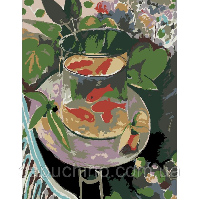 Картина по номерам рисование Роса Красные рыбки набор для росписи по цифрам, краски, кисти, холст