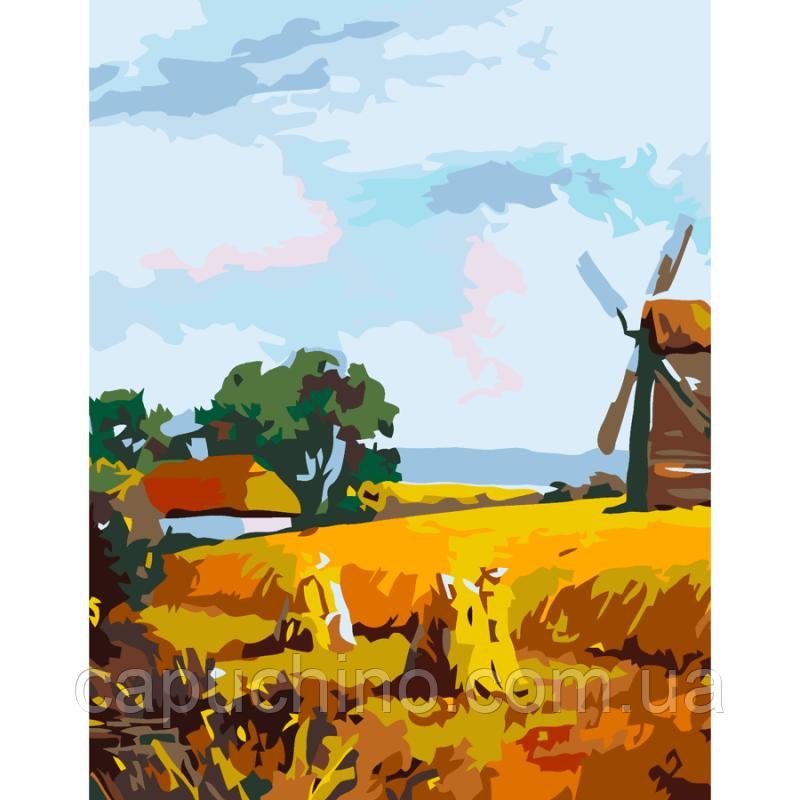 """Набір-стандарт акрилова живопис за номерами """"Млин у селі"""" 35х45см ROSA START~#~Набір-стандарт"""