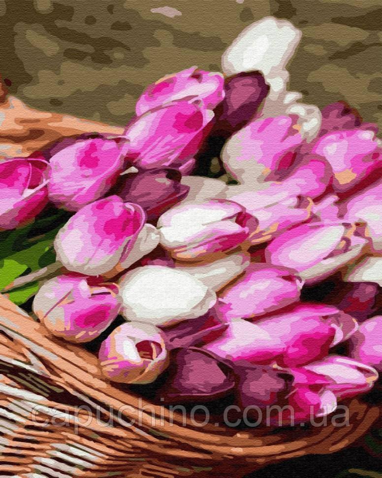 Картина за номерами малювання Кошик тюльпанів 40х50см малювання розпис по номерах, пензлі, фарби, полотно