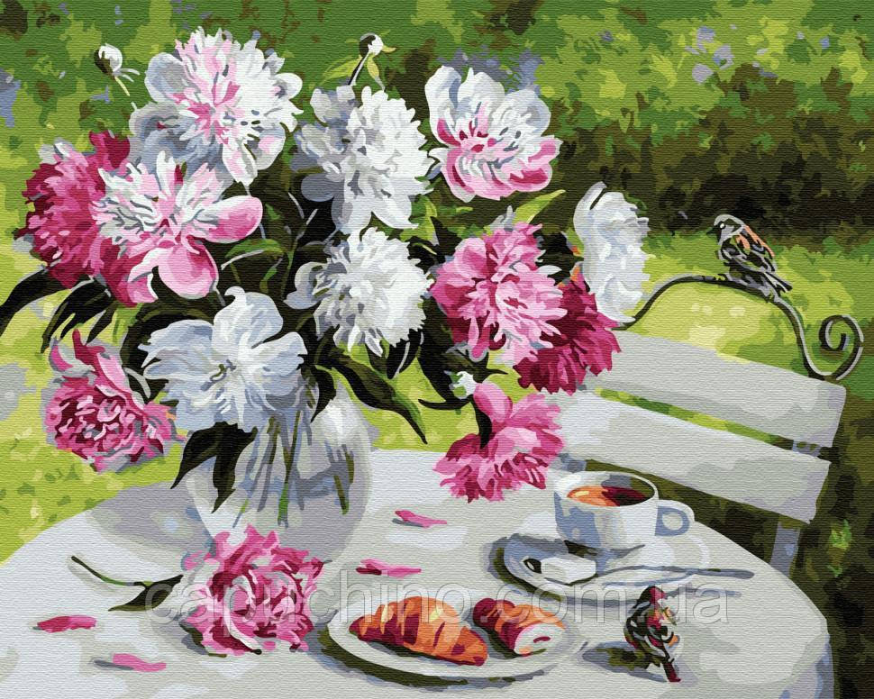 Картина по номерам рисование Завтрак с пионами 40х50см рисование роспись по номерам, кисти, краски, холст