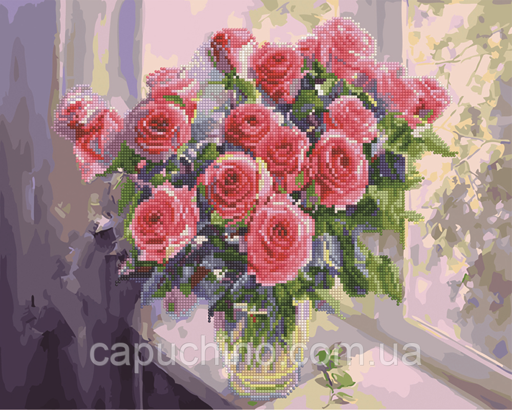 Алмазна мозаїка і картина за номерами Рожеві троянди у вазі GZS1023 40х50 см картина набір для розпису і