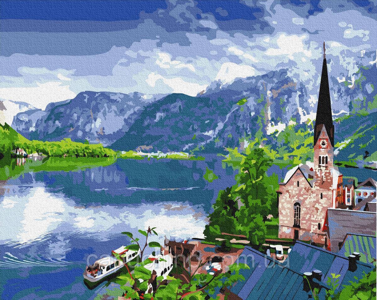 Картина по номерам рисование Brushme Вид на горное озеро BRM33056 40х50см набор для росписи по цифрам в