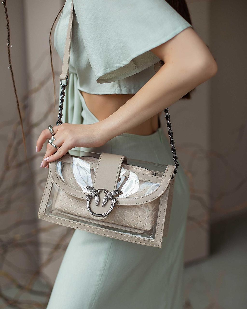 Прозрачная сумка! Женская бежевая маленькая сумочка 64909 с косметичкой на длинном ремешке из силикона