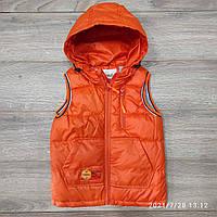 Жилетка детская демисезонная для мальчика на молнии с капюшоном New 3-7 лет, оранжевого цвета