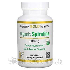California Gold Nutrition, органическая спирулина 500 мг, 240 таблеток, фото 2
