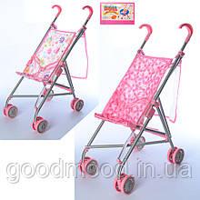 Візок 9302 W-B для ляльки, мет., парасолька, подвійні колеса, поворот, сітка-сумка, 64-13-12 см.