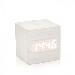 Электронные квадратные часы с будильником, деревянные, белые