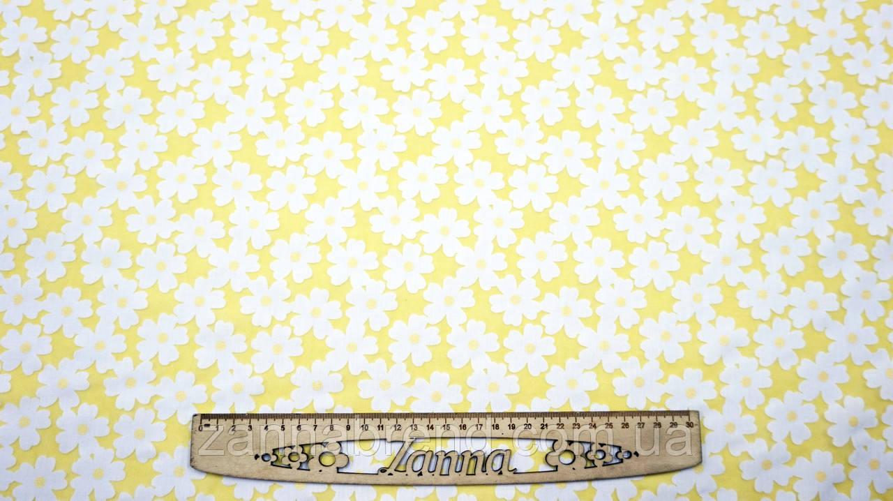 Ткань шифон-коттон органза желтого цвета с цветочным принтом